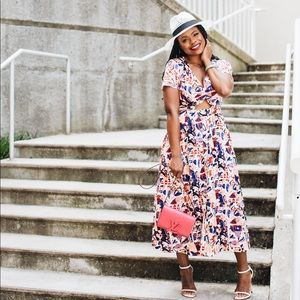 Printed Cut Out Midi Dress